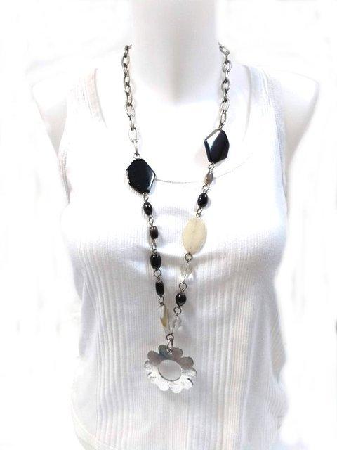 Collar cadena y piedras rosetón flor 435725