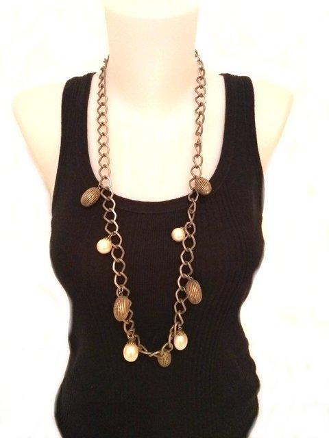 Collar perla y bellota metal 435041