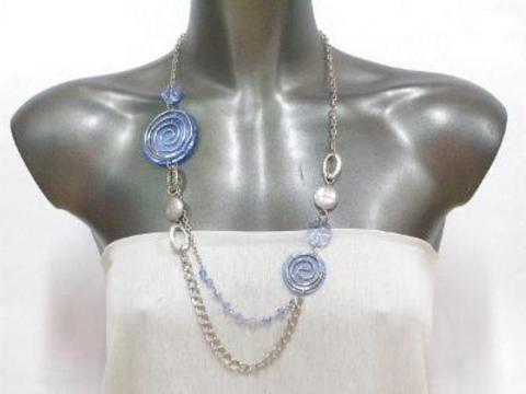 Collar metal/nácar círculos 3503