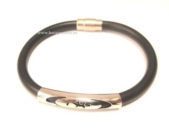 Pulsera cordón caucho y acero PL-082
