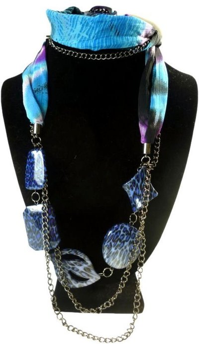 Collar-Foulard azul y morado  leopardo