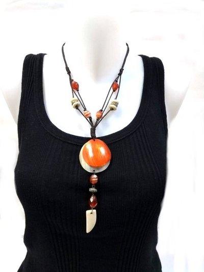 Collar Unisex Fussion medallon naranja-beige CJC 101