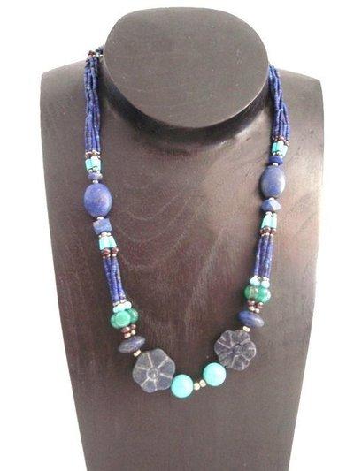 Collar Piedras Naturales Flores colecc. artesanía hindú (HIND2)