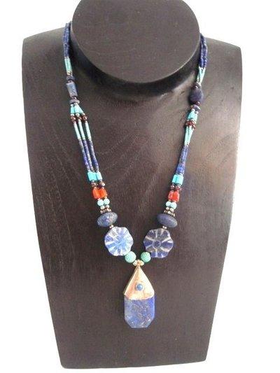 Collar Piedras Naturales Flor colecc. artesanía hindú (HIND4)