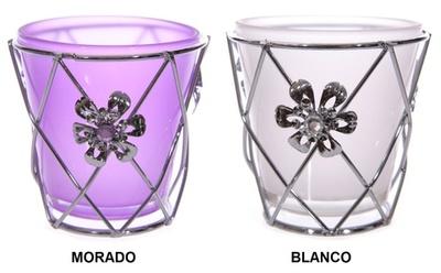 Porta Velas vidrio/metal rejilla Flor colores