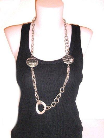 Collar cadena piedra redonda gris 435690