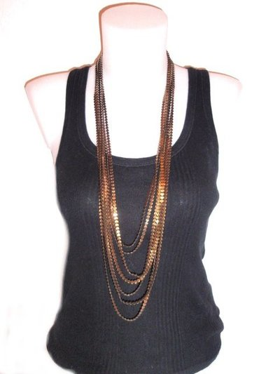 Collar metal multicadenas bronce 434515