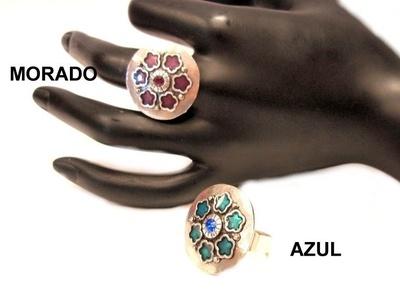 Anillo Flor esmalte y cristal colores 413685