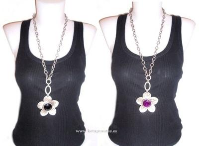 Collar metal oxido medallón flor 43327