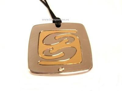 Colgante acero con oro y circonita 4002