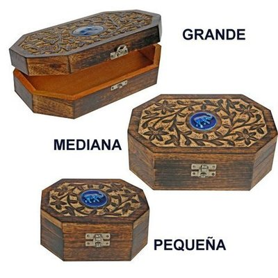 Caja madera tallada cerámica elefante pequeña