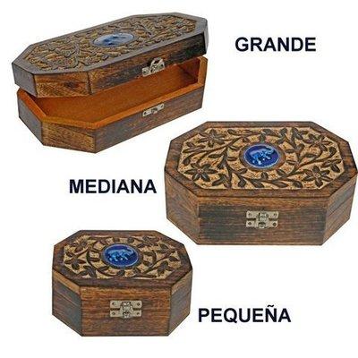Caja madera tallada cerámica Elefante grande