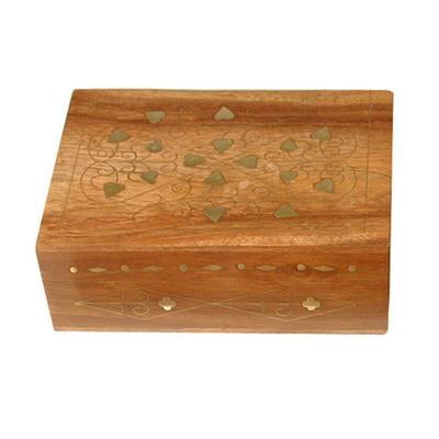 Caja madera/latón decorada 15cm box-5073