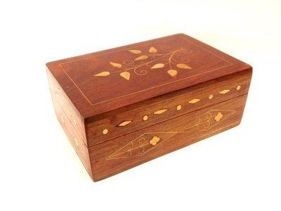 Caja madera/latón decorada 15cm box-5072