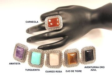 Anillo metal ajustable con mineral mod. Rectangular