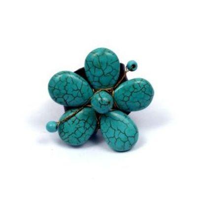 Anillo cuero y piedra flor