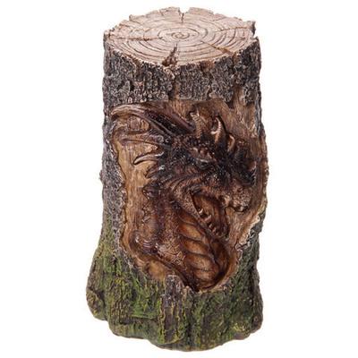 Dragon tallado en tronco con luz led