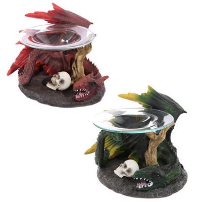 Quemador de aceite Dragon con calaveras