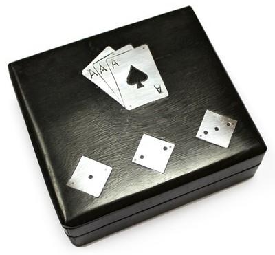 Set Poker Baraja+Dados en caja madera