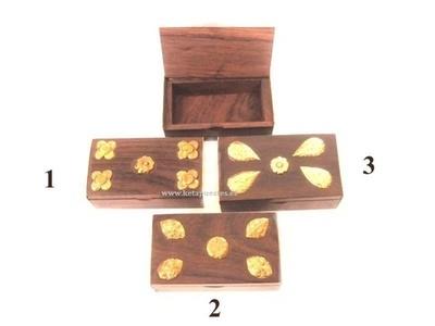 Caja madera/latón mini decorada rectangular