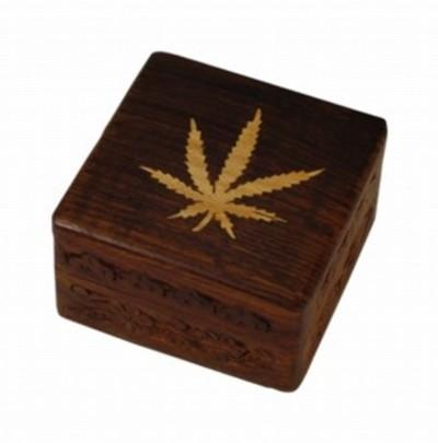 Caja madera decorada hoja pequeña