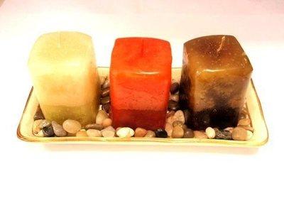 Set 3 velas aromáticas + Piedras