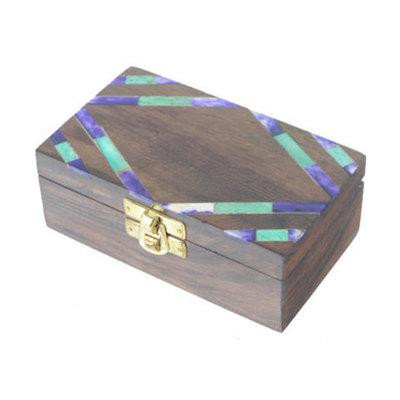 Caja madera/hueso mosaico rectangular