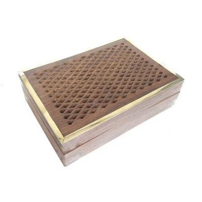 Caja madera/latón tallada diamante