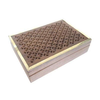 Caja madera/latón tallada estrellas