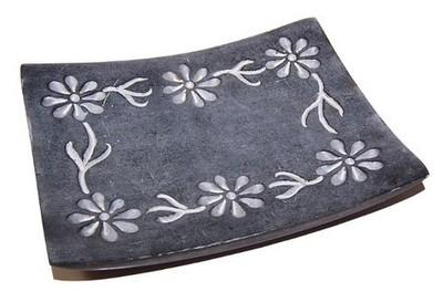 Jabonera piedra marmol flores rectangular