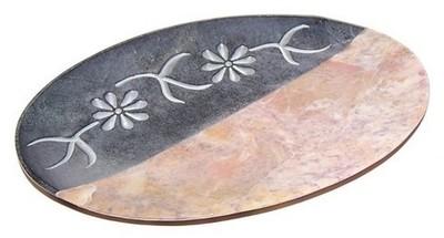 Jabonera piedra arena/mármol flor ovalada